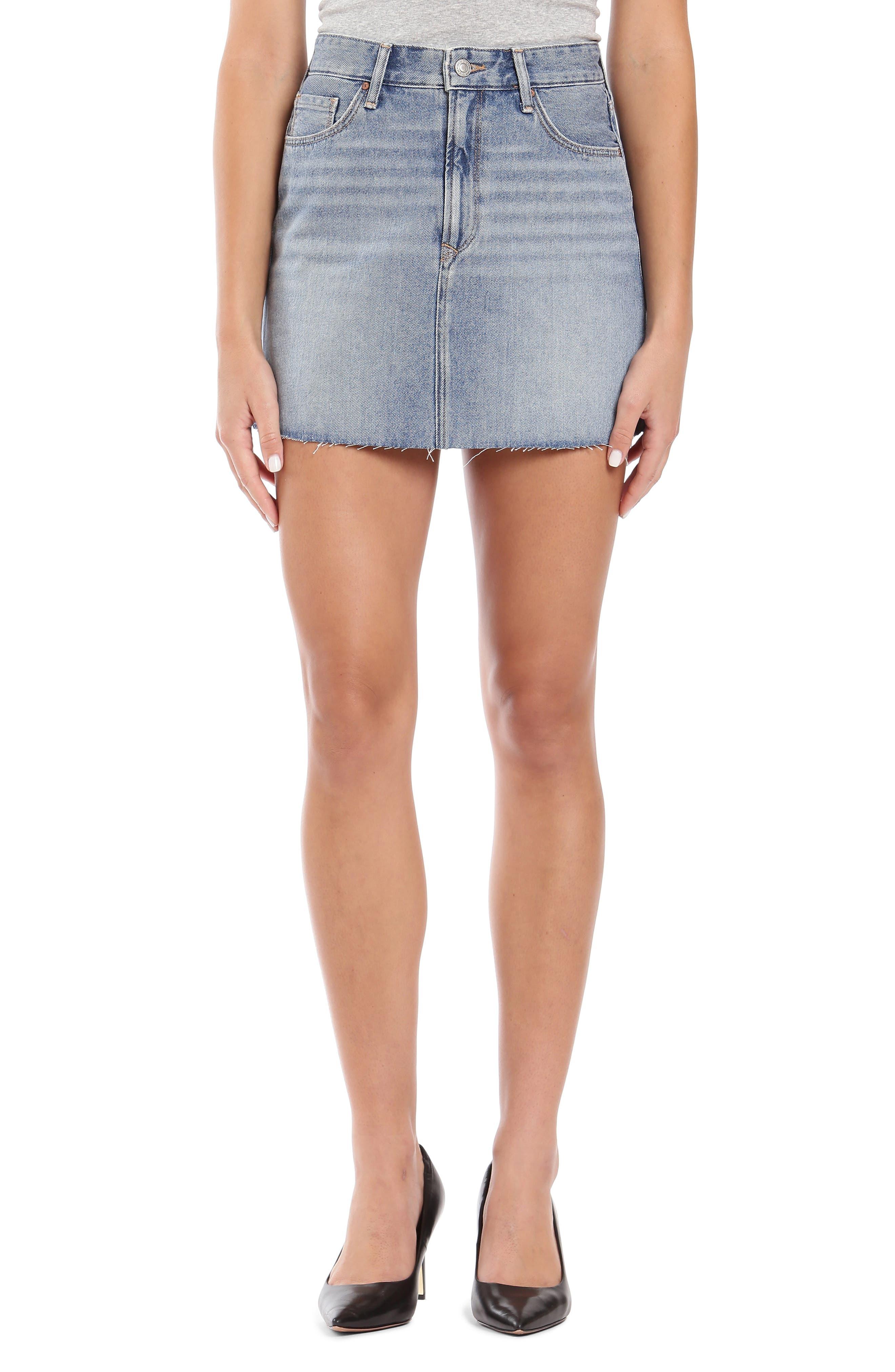 Lindsay Raw Hem Denim Miniskirt