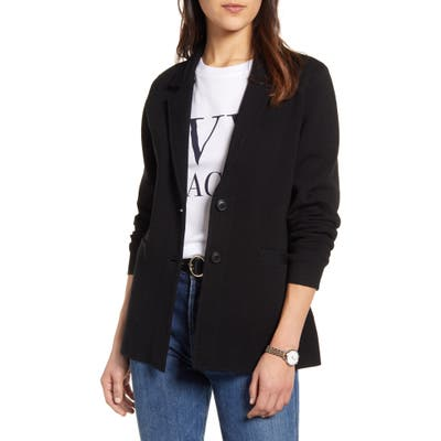 1901 Stretch Wool Blend Sweater Blazer, Black