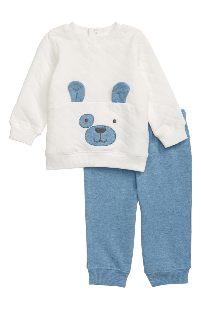 LITTLE ME Puppy Face Quilted Sweatshirt & Sweatpants Set, Main, color, BLUE