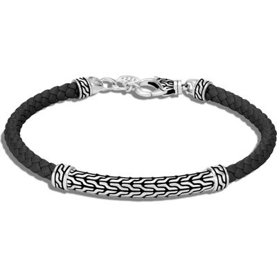 John Hardy Classic Chain Silver Station Leather Bracelet
