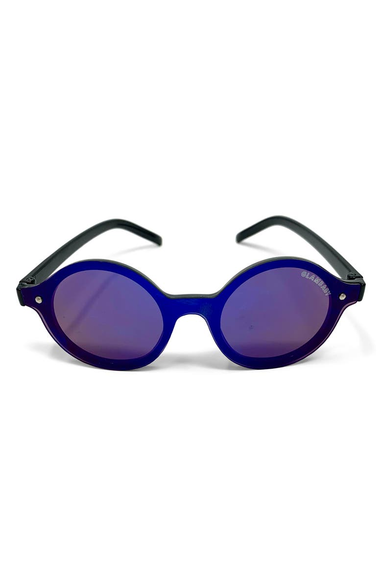 GLAMBABY Hermosa Round Sunglasses, Main, color, NAVY AND BLACK