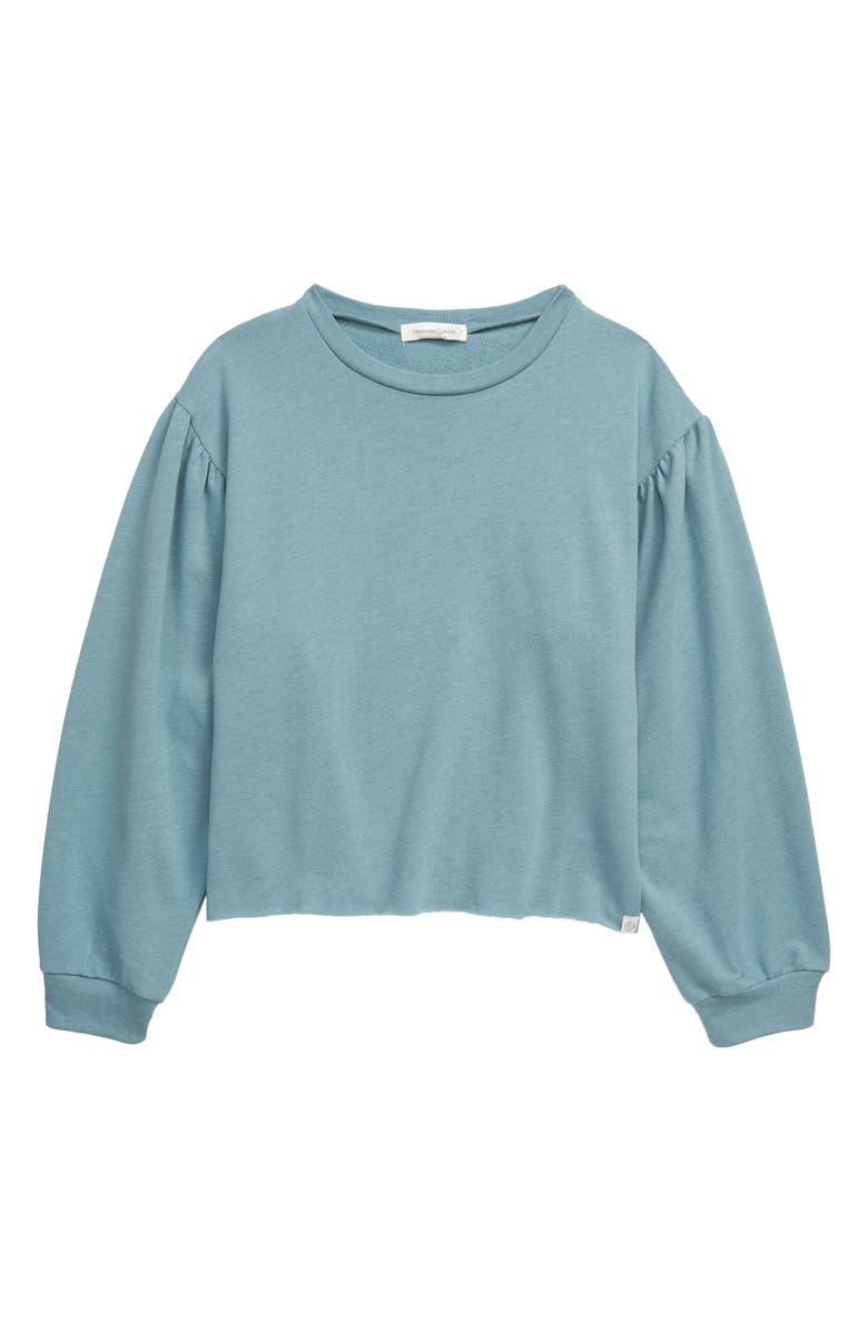TREASURE & BOND Balloon Sleeve Sweatshirt, Main, color, BLUE SMOKE