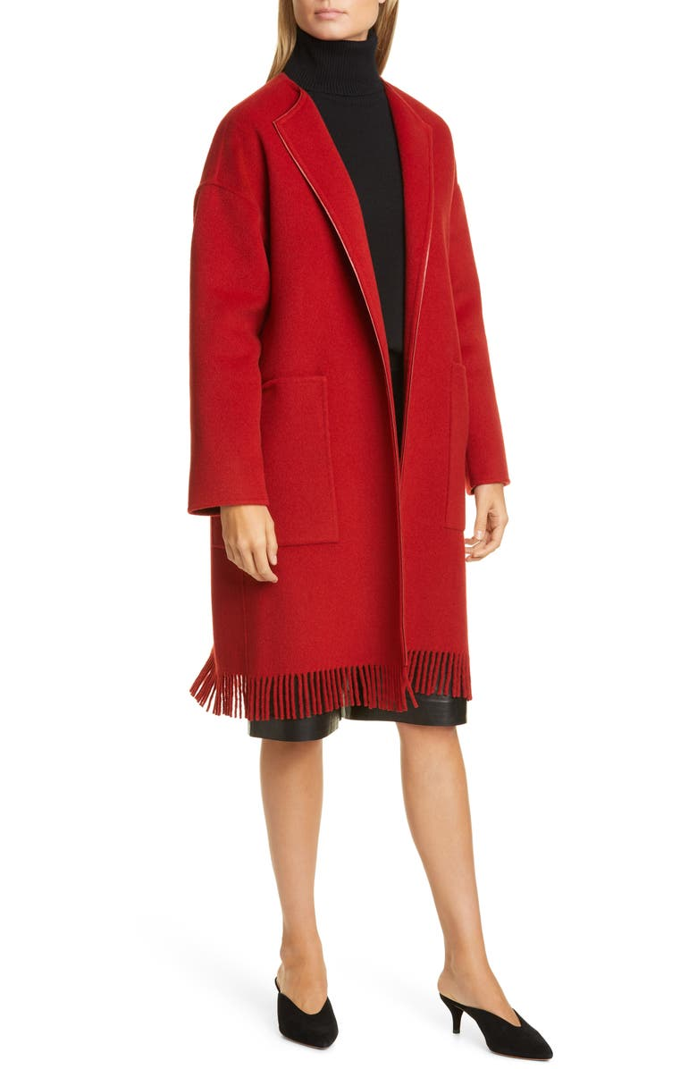 LAFAYETTE 148 NEW YORK Barnett Fringe Trim Cashmere Coat, Main, color, RED ROCK