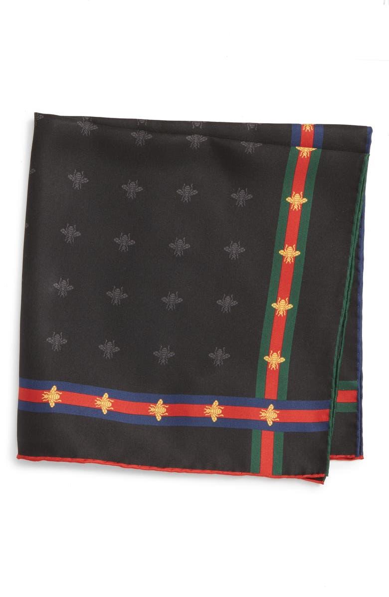 GUCCI Runebis Silk Twill Pocket Square, Main, color, 003