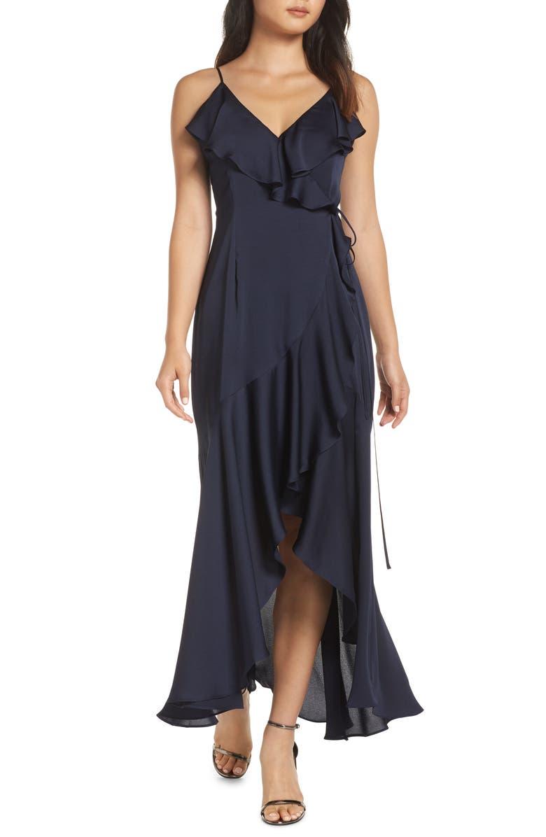 SHONA JOY Luxe Ruffle Trim Wrap Gown, Main, color, SAPPHIRE