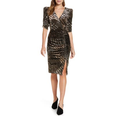 Eliza J Ruched Plaid Velvet Party Dress, Black