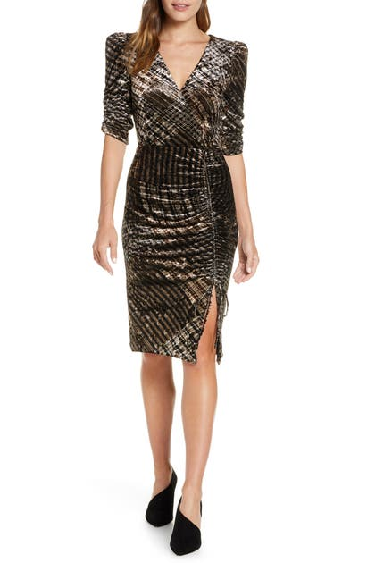 Eliza J Ruched Plaid Velvet Party Dress In Black/ Taupe