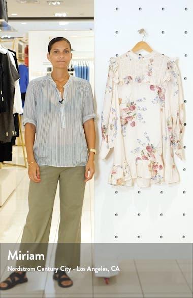 Saffron Floral Long Sleeve Silk Minidress, sales video thumbnail