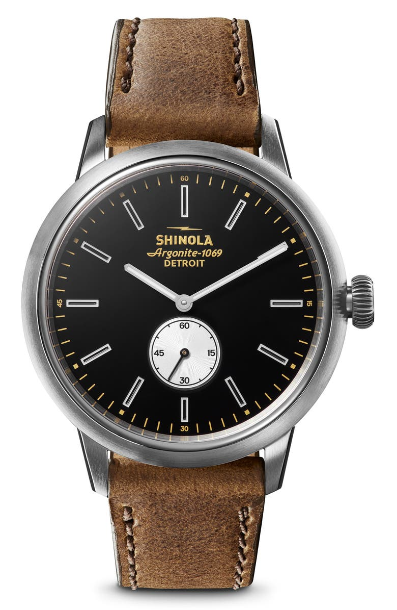 SHINOLA Bedrock Leather Strap Watch, 42mm, Main, color, 200