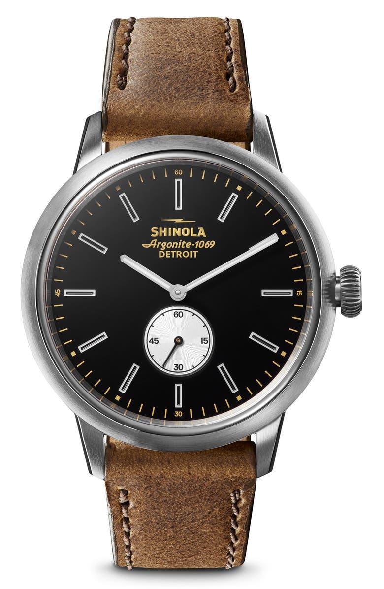 SHINOLA Bedrock Leather Strap Watch, 42mm, Main, color, BROWN/ BLACK/ SILVER
