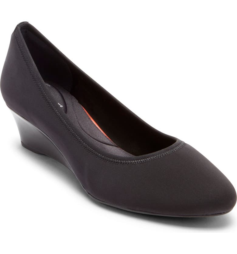ROCKPORT Total Motion Cerelia Wedge Pump, Main, color, BLACK LYCRA FABRIC