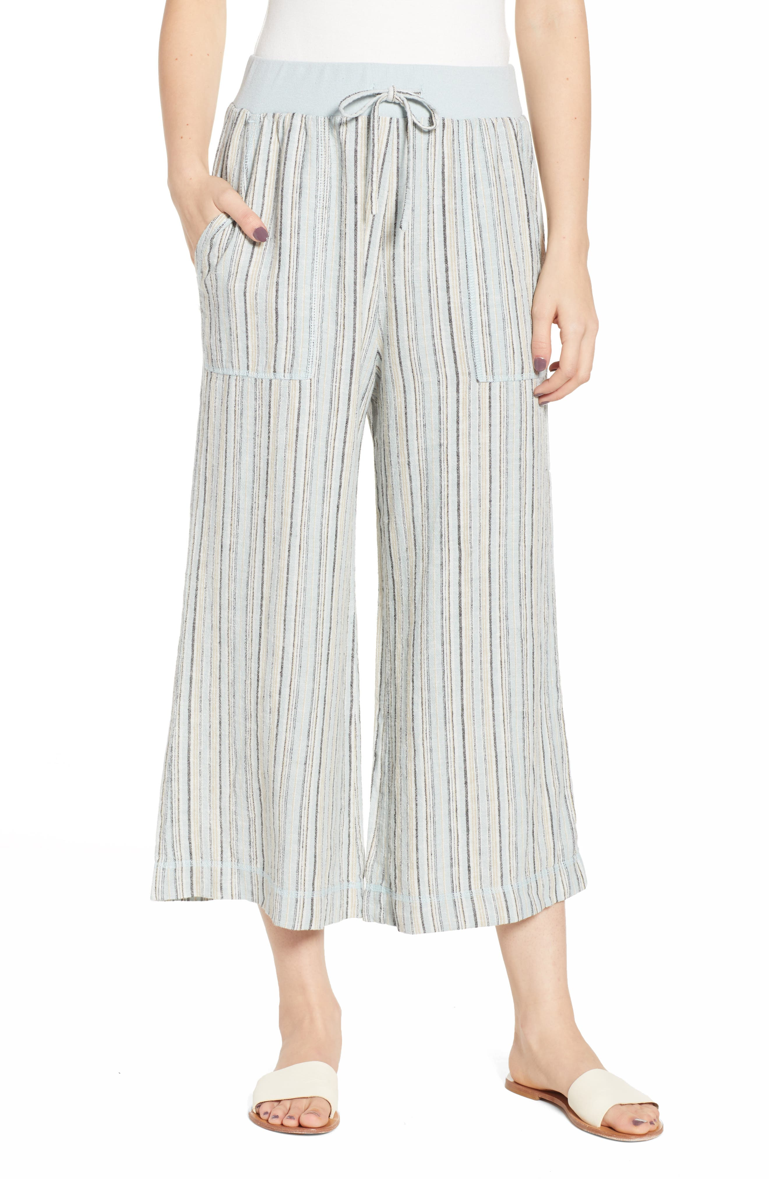 ,                             Stripe Crop Linen Blend Pants,                             Main thumbnail 1, color,                             450