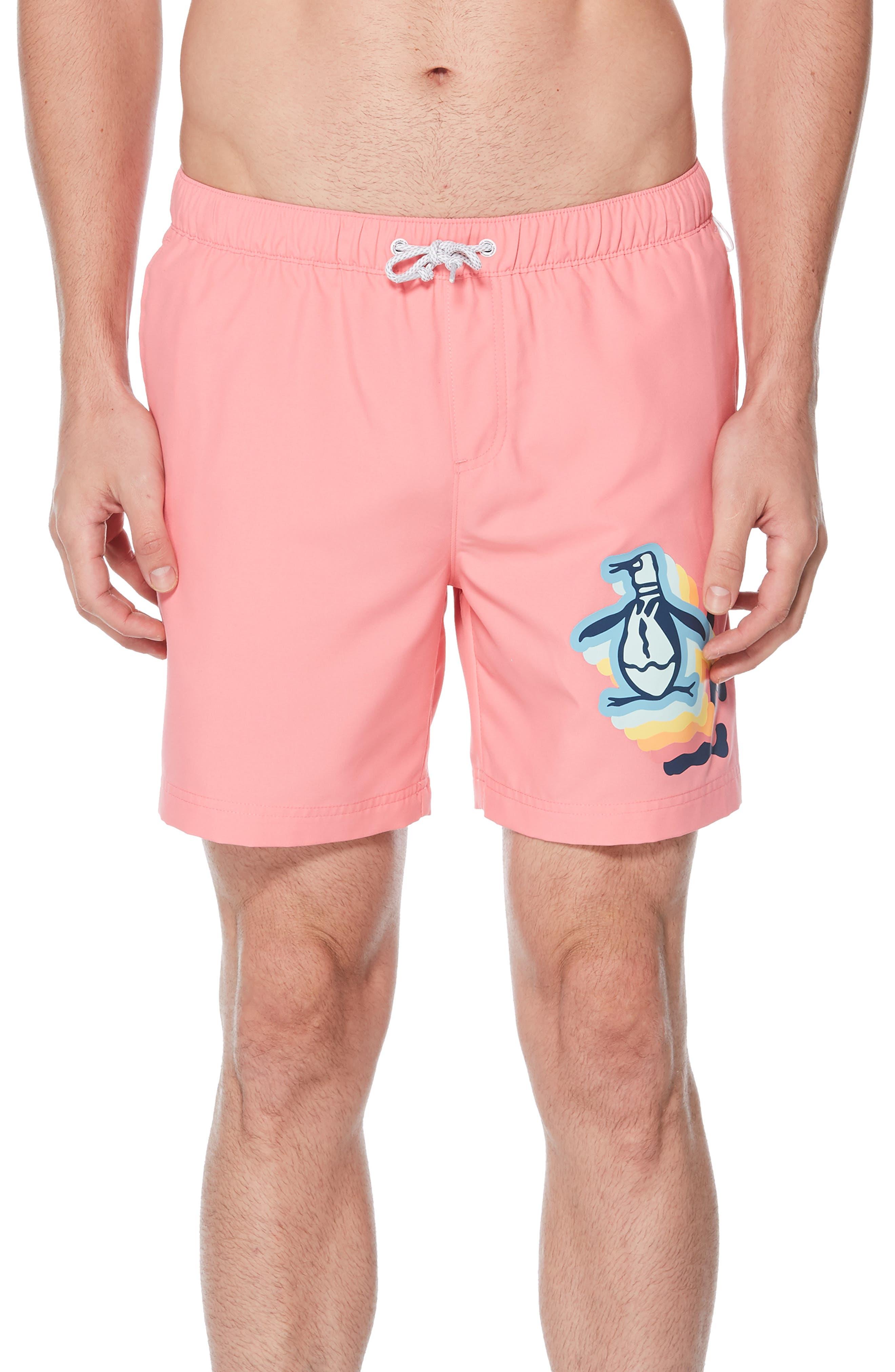 b6e6d33e3a Original Penguin Pete Print Volley Swim Trunks, Pink