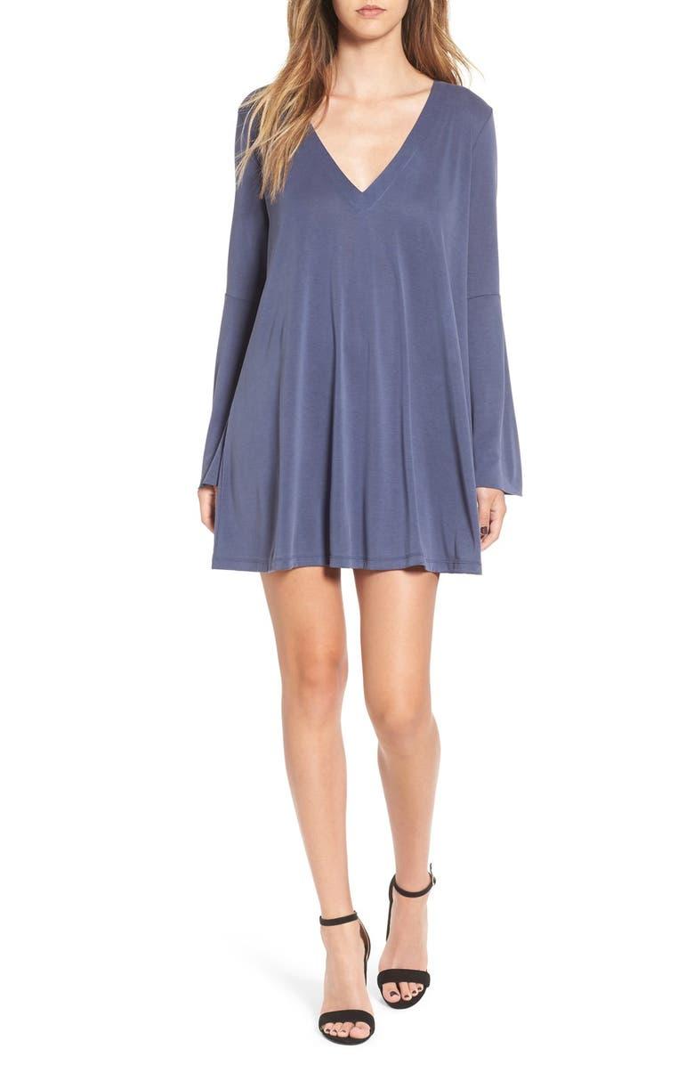 ALL IN FAVOR Bell Sleeve V-Neck Knit Dress, Main, color, NAVY