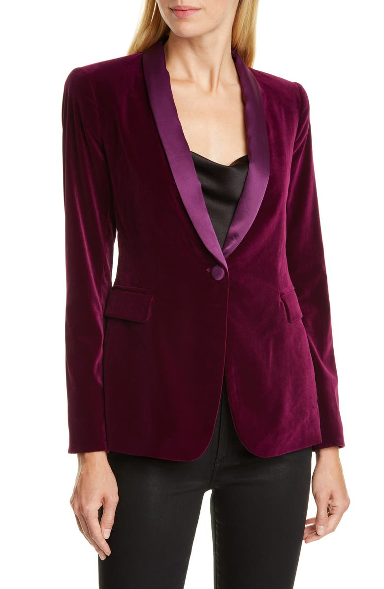 ALICE + OLIVIA Macey Velvet Shawl Collar Jacket, Main, color, MERLOT
