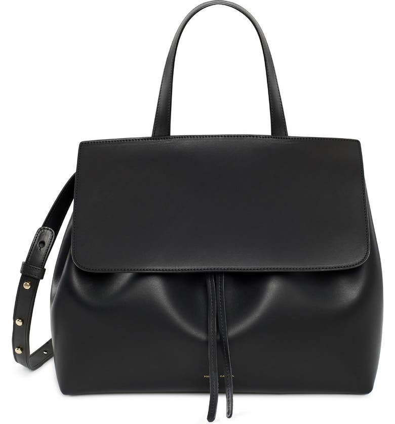 MANSUR GAVRIEL Lady Leather Bag, Main, color, BLACK/ FLAMMA