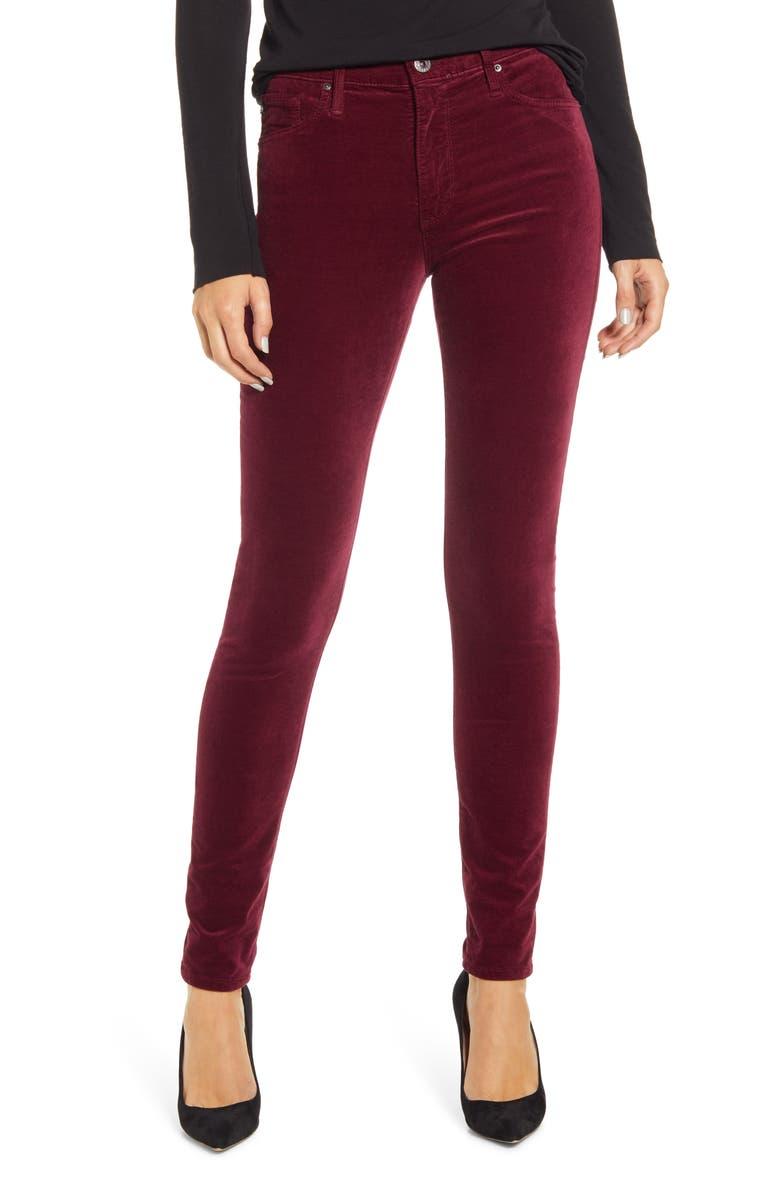 AG The Farrah High Waist Velvet Jeans, Main, color, GOOSEBERRY