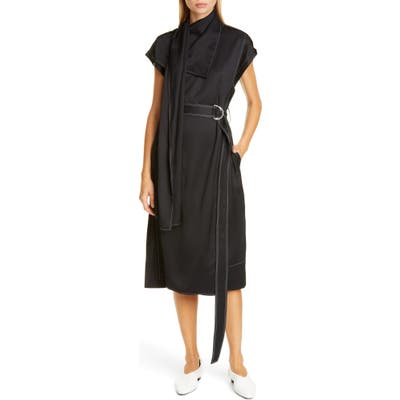 Proenza Schouler Drape Neck Scarf Midi Dress, Black
