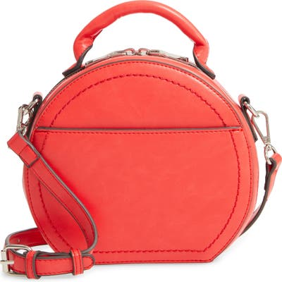 Sole Society Glyso Round Faux Leather Crossbody Bag - Red