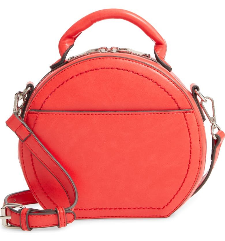 SOLE SOCIETY Glyso Round Faux Leather Crossbody Bag, Main, color, POPPY