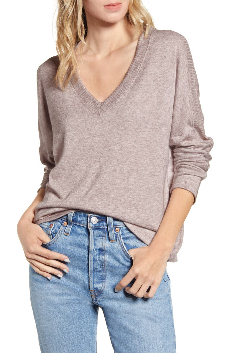 ALL IN FAVOR V-Neck Sweater, Main, color, WINE