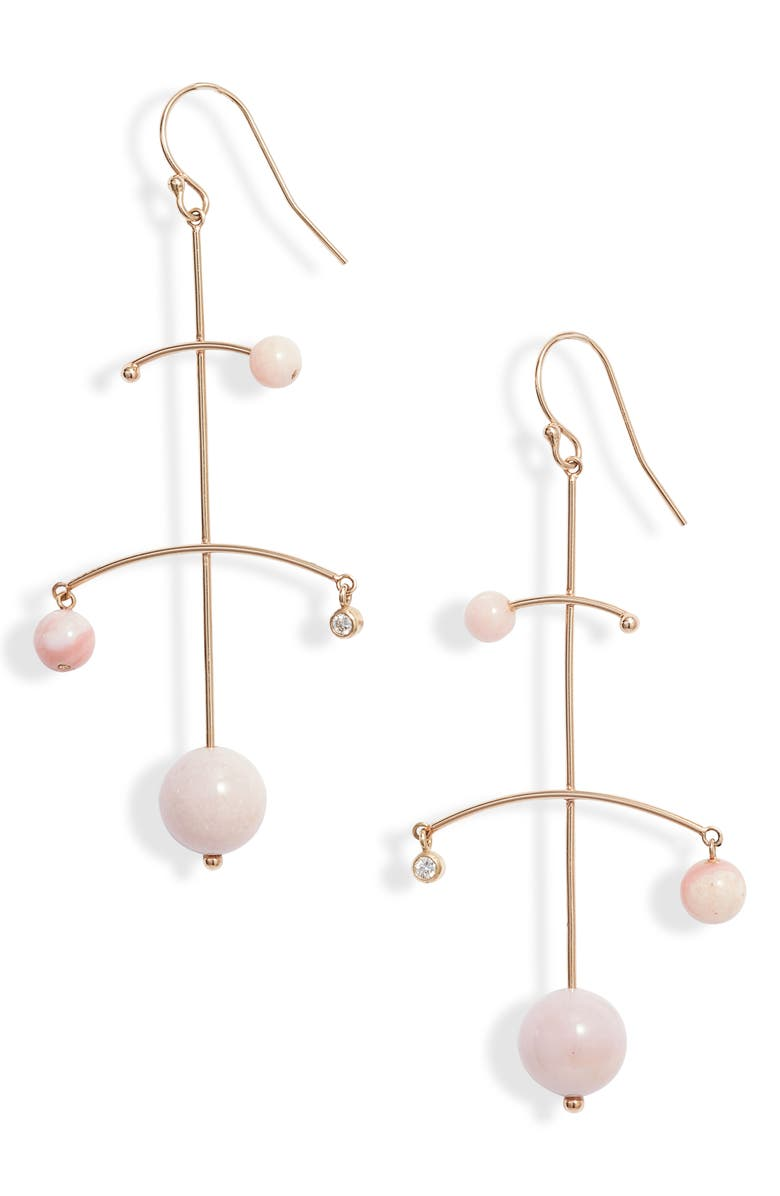 ZOË CHICCO Diamond & Pink Opal Mobile Earrings, Main, color, 710