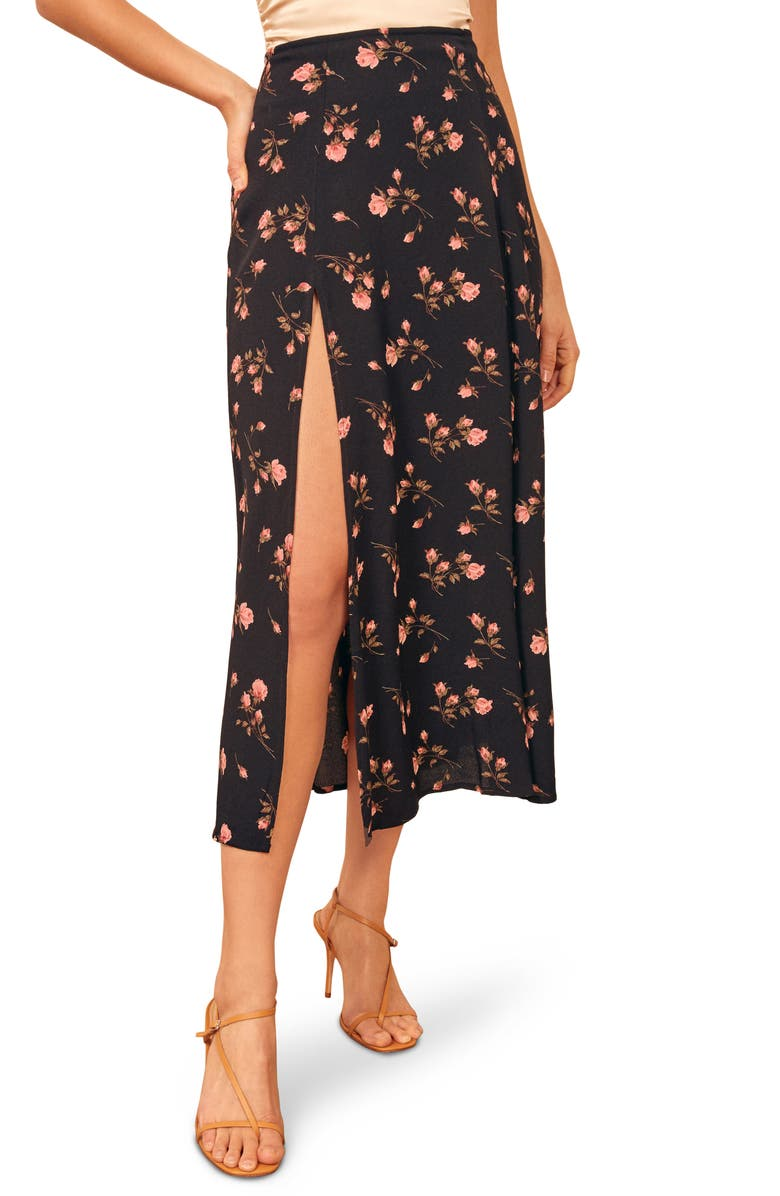 REFORMATION Zoe Side Slit Midi Skirt, Main, color, ROMY