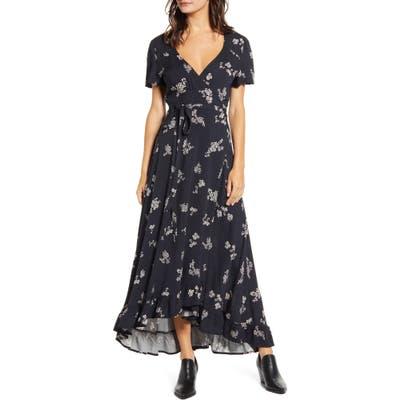 Lira Clothing Azalea Floral Print Wrap Maxi Dress, Black