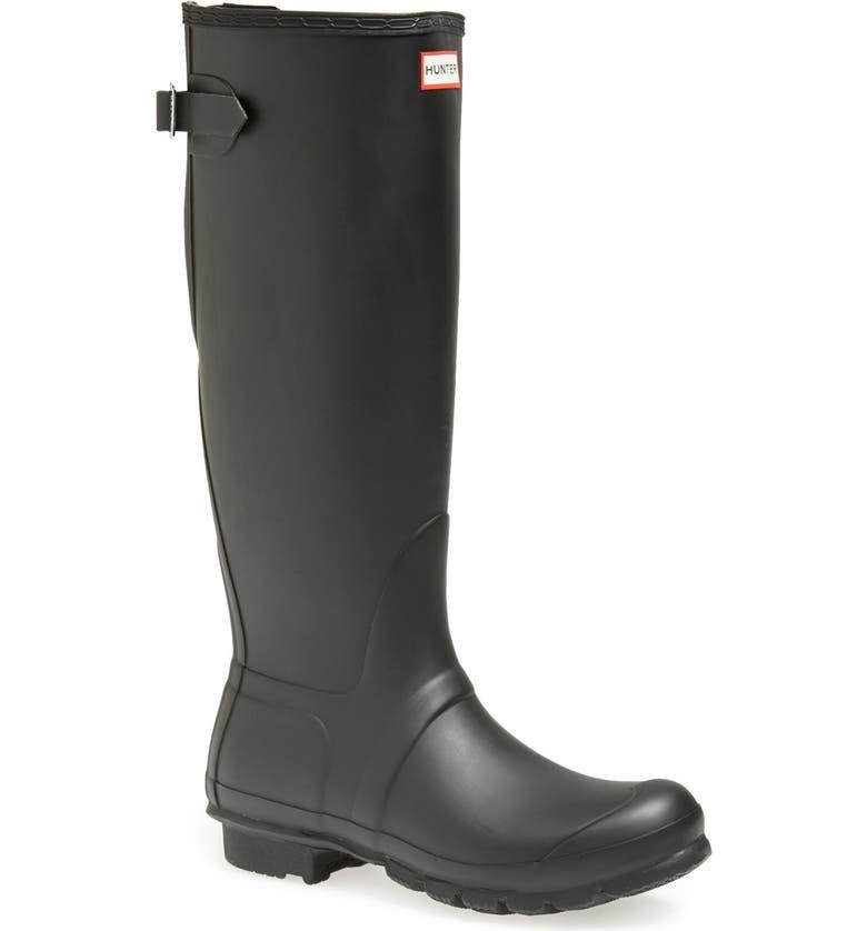 HUNTER Original Tall Adjustable Back Waterproof Rain Boot, Main, color, 002
