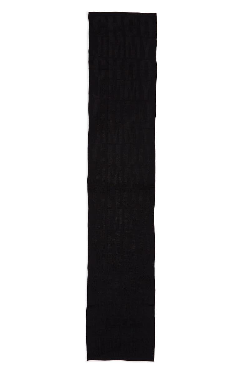 JIMMY CHOO Knit Logo Scarf, Main, color, BLACK