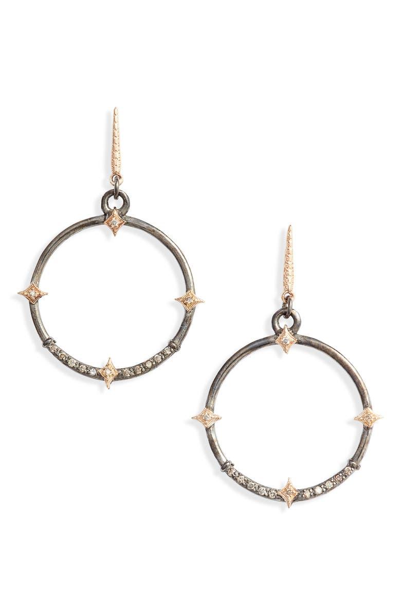 ARMENTA New World Diamond Hoop Drop Earrings, Main, color, SILVER