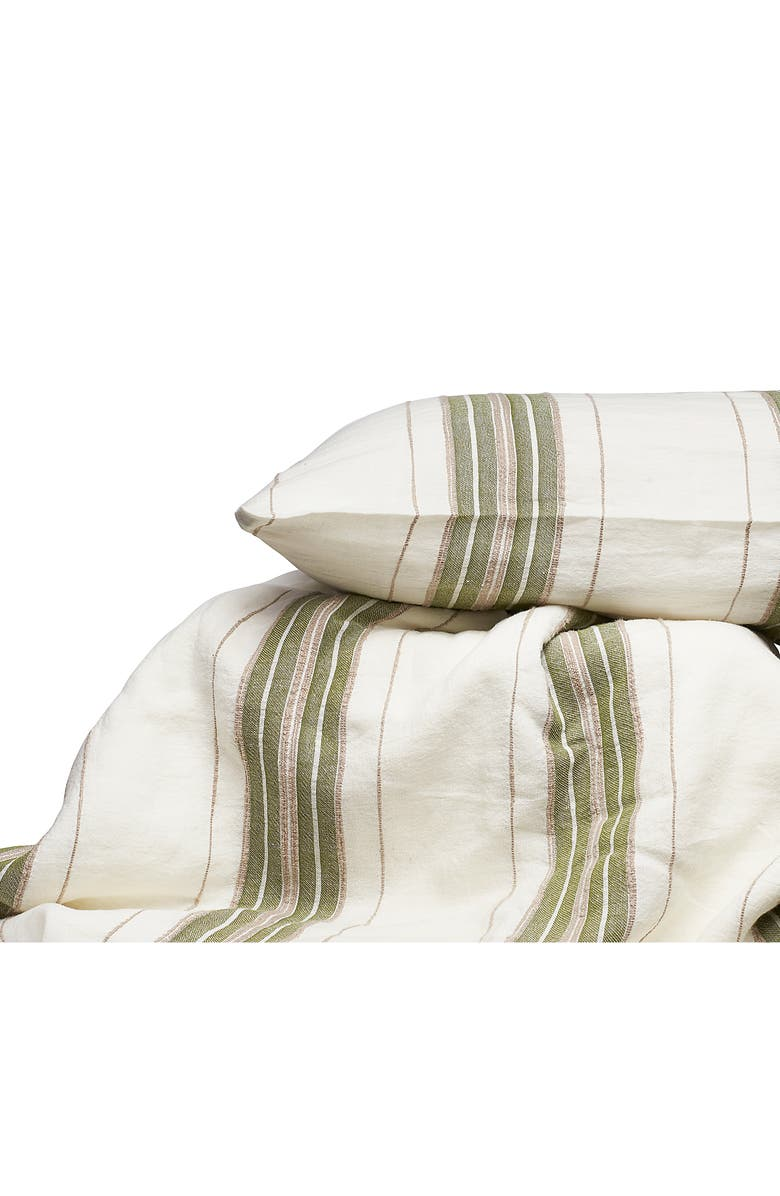 EADIE LIFESTYLE Oxford Linen Yarn Dyed Duvet Cover & Shams, Main, color, SAGE MULTI
