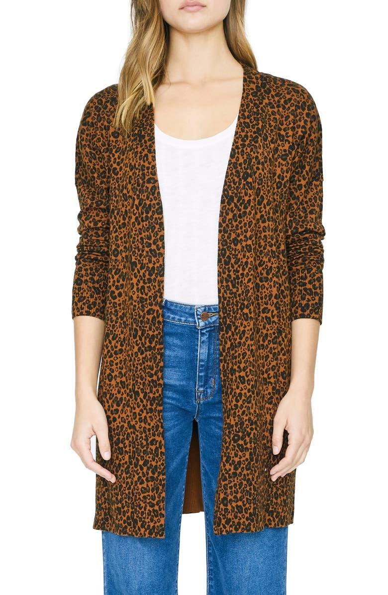 SANCTUARY Lenox Long Cotton Blend Cardigan, Main, color, LEOPARD