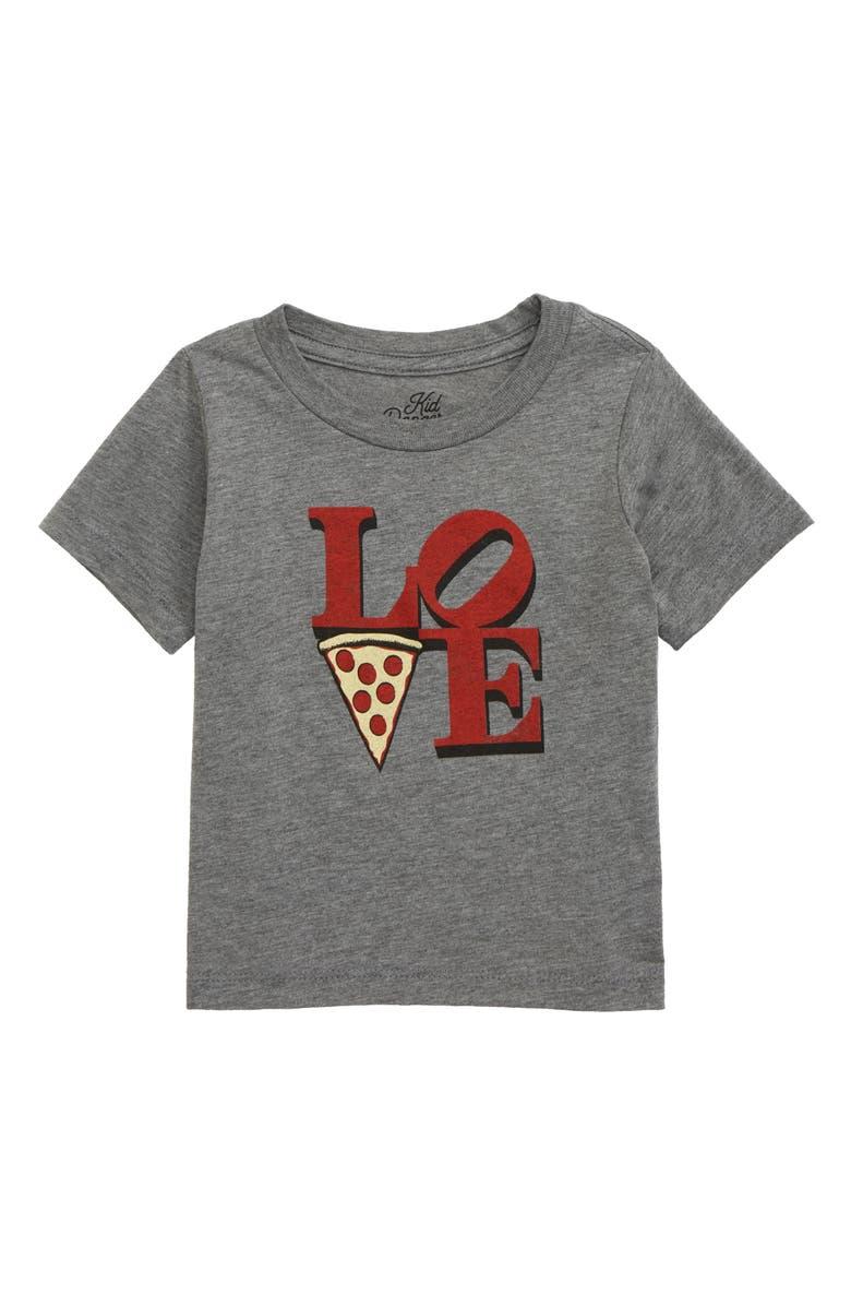 KID DANGEROUS Love Pizza Graphic T-Shirt, Main, color, MEDIUM GREY