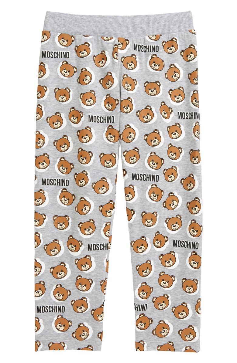 MOSCHINO Bear Logo Graphic Leggings, Main, color, GREY