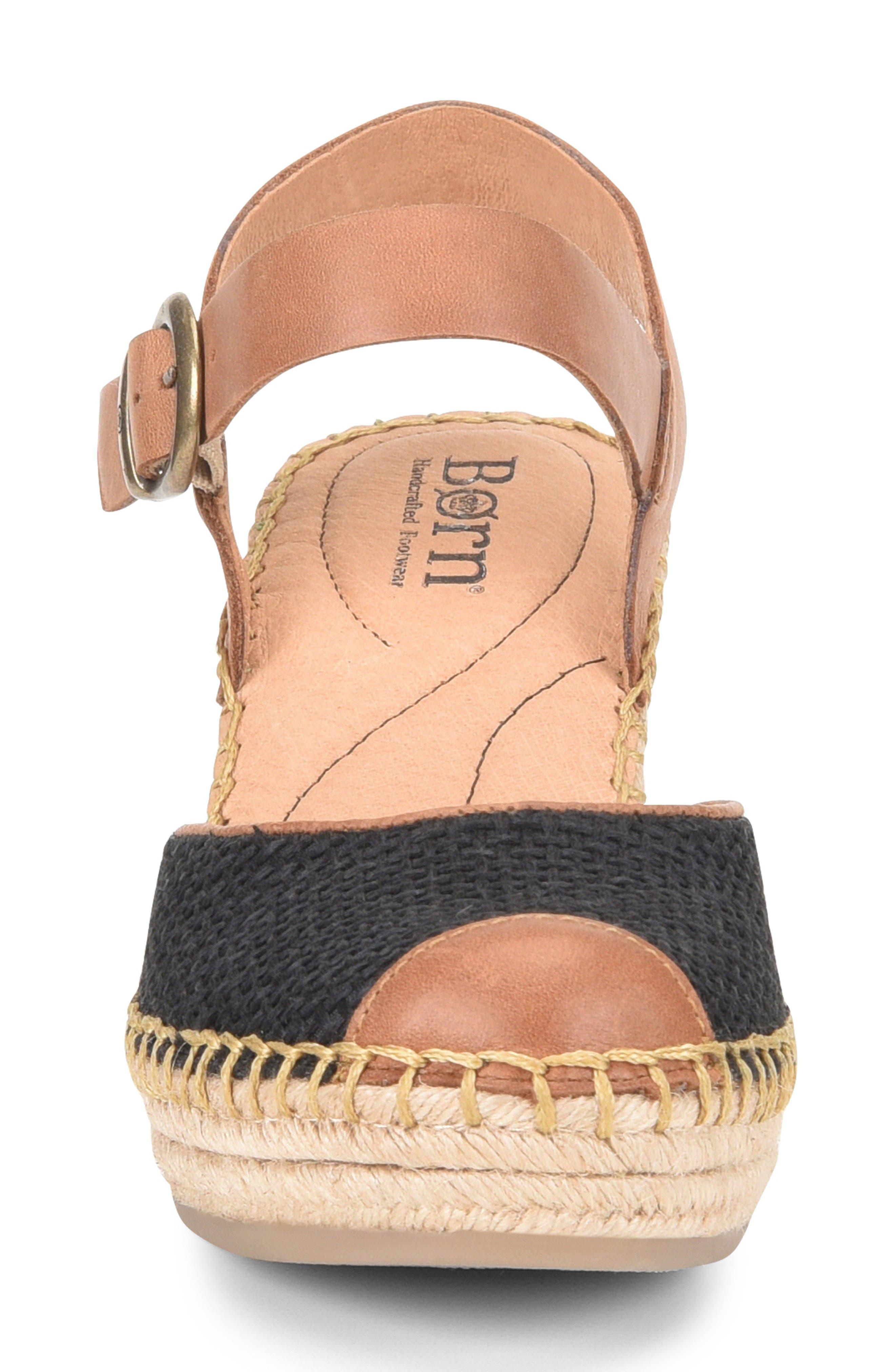 ,                             Guadalupe Wedge Sandal,                             Alternate thumbnail 4, color,                             BLACK/ RUST FABRIC