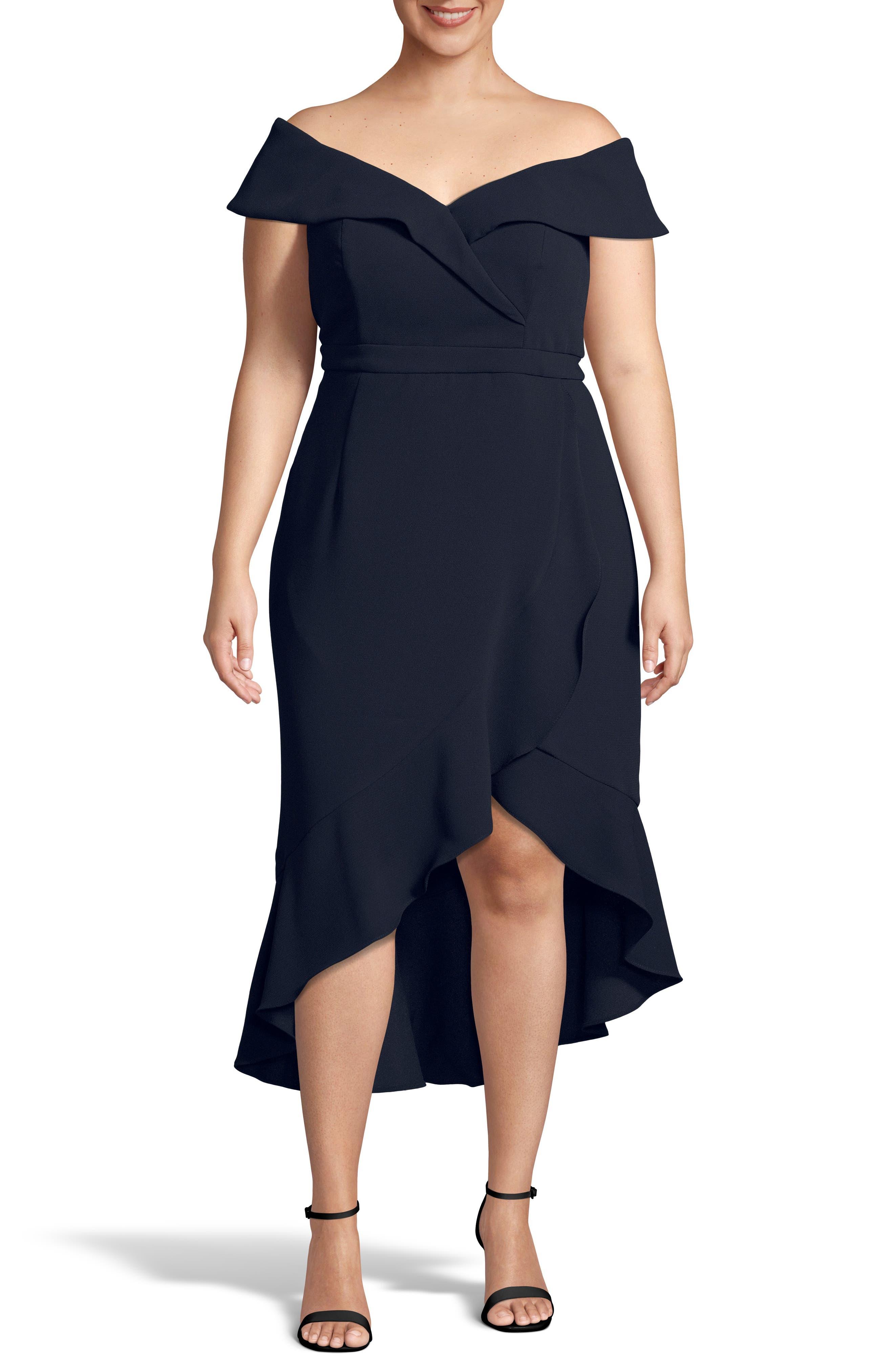 Plus Size Xscape Off The Shoulder Ruffle Midi Dress, Blue