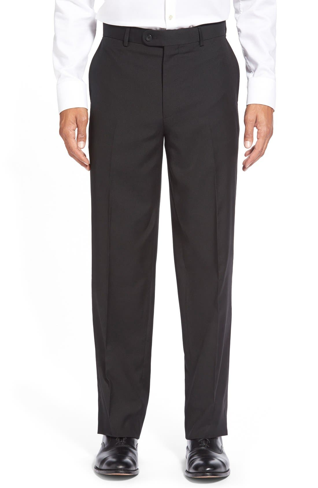 'Tic Weave' Super 100S Wool Trousers
