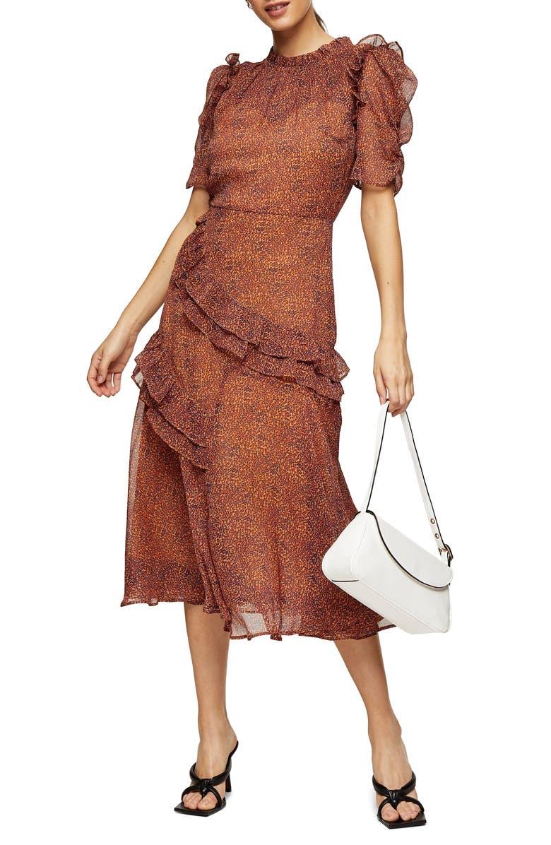 TOPSHOP Floral Ruffle Midi Dress, Main, color, ORANGE