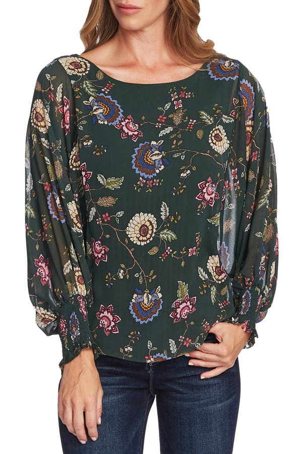Vince Camuto Tops FLORAL BATWING SLEEVE BLOUSE