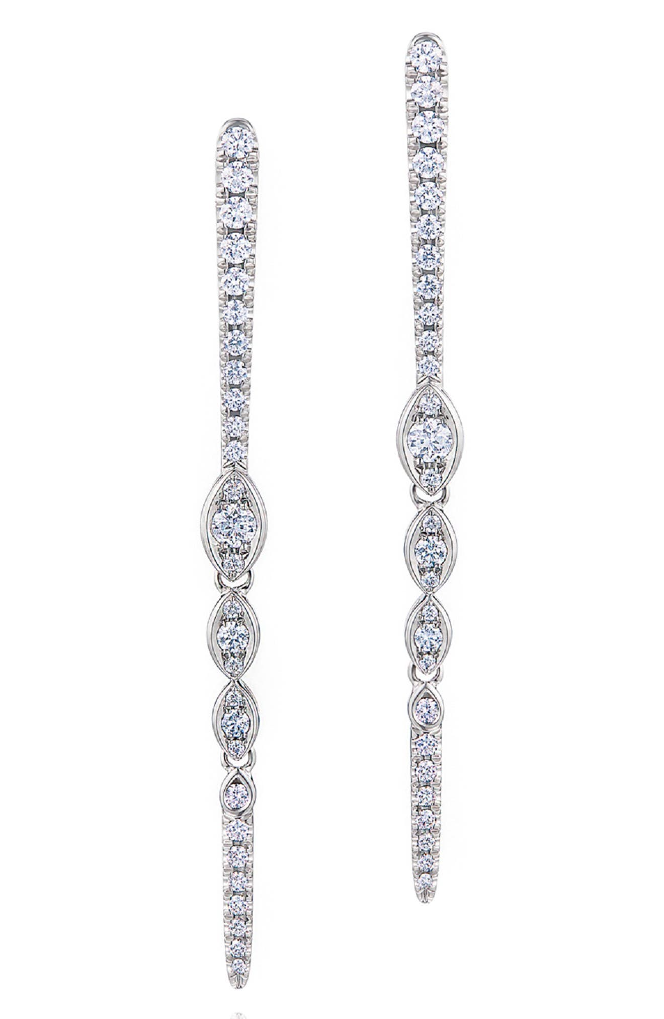 Vine Diamond Drop Earrings, Main, color, WHITE GOLD