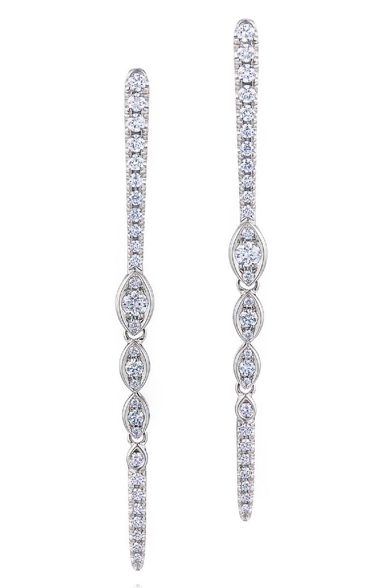KWIAT Vine Diamond Drop Earrings, Main, color, WHITE GOLD