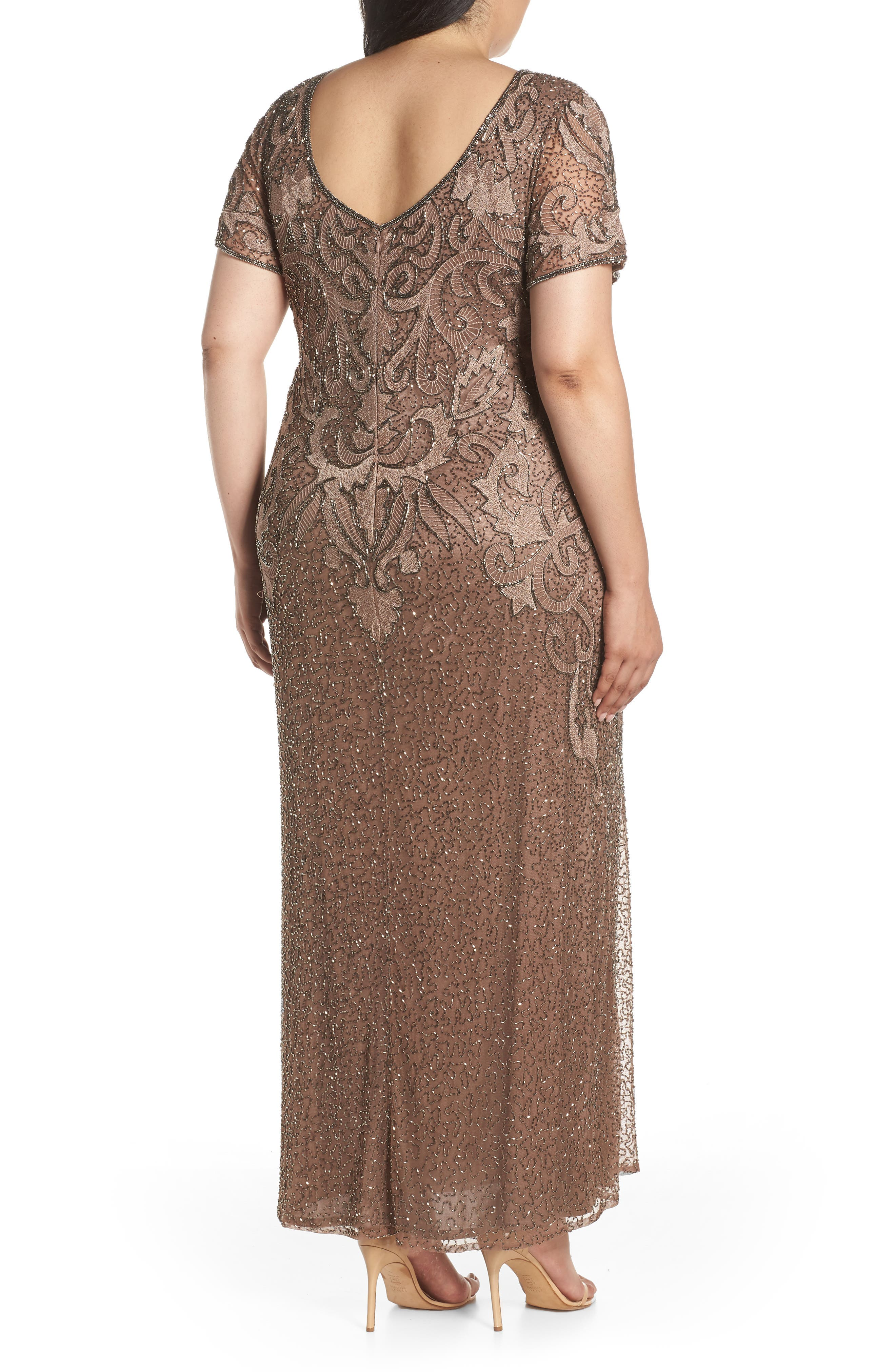 ,                             Embroidered Mesh Gown,                             Alternate thumbnail 5, color,                             MOCHA