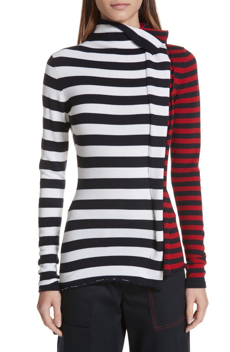 MONSE Half & Half Stripe Wool Sweater, Main, color, 100