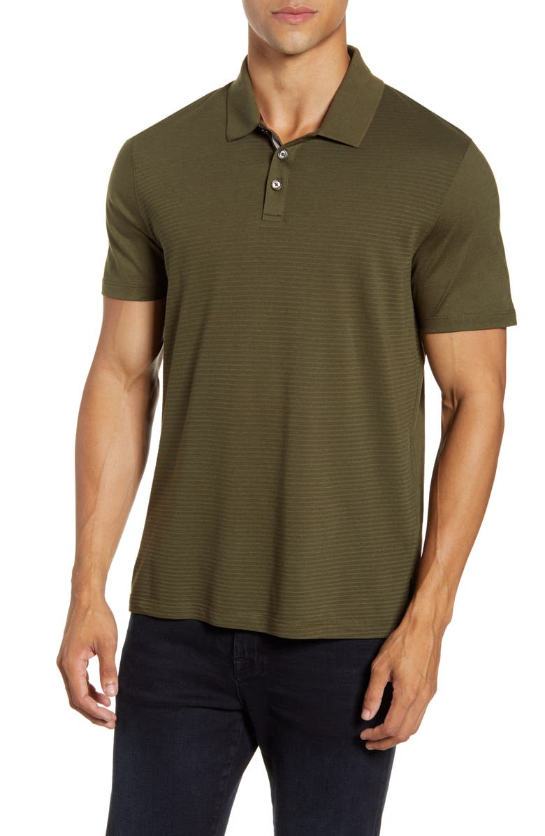 TED BAKER LONDON Slim Fit Texture Block Polo, Main, color, KHAKI