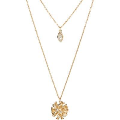 Alexis Bittar Crystal Burst Long Layered Pendant Necklace