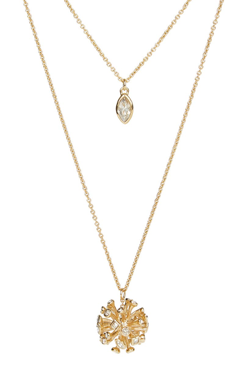 ALEXIS BITTAR Crystal Burst Long Layered Pendant Necklace, Main, color, GOLD