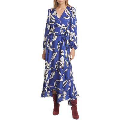 Veronica Beard Mclean Floral Silk Long Sleeve Maxi Dress, Blue