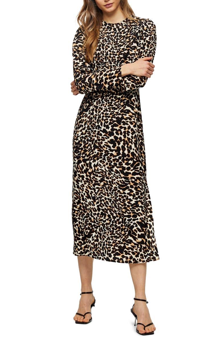 TOPSHOP Animal Print Long Sleeve Midi Dress, Main, color, BLACK MULTI