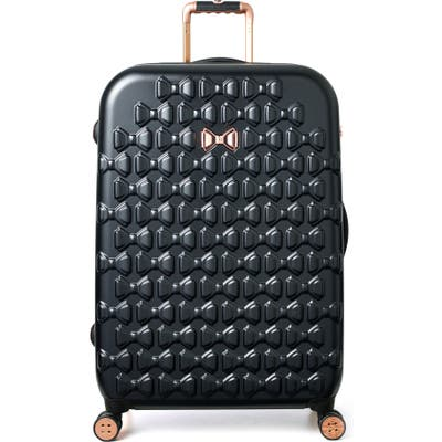 Ted Baker London Large Beau Bow Embossed Four-Wheel 31-Inch Trolley Suitcase - Black